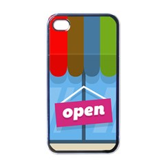 Store Open Color Rainbow Glass Orange Red Blue Brown Green Pink Apple iPhone 4 Case (Black)