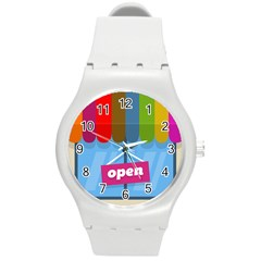 Store Open Color Rainbow Glass Orange Red Blue Brown Green Pink Round Plastic Sport Watch (M)