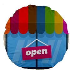 Store Open Color Rainbow Glass Orange Red Blue Brown Green Pink Large 18  Premium Round Cushions