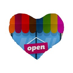 Store Open Color Rainbow Glass Orange Red Blue Brown Green Pink Standard 16  Premium Heart Shape Cushions