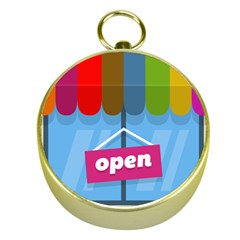 Store Open Color Rainbow Glass Orange Red Blue Brown Green Pink Gold Compasses