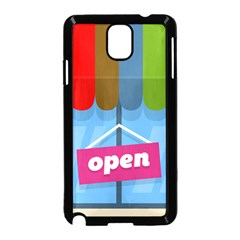 Store Open Color Rainbow Glass Orange Red Blue Brown Green Pink Samsung Galaxy Note 3 Neo Hardshell Case (Black)