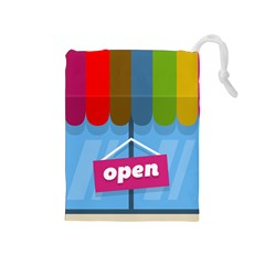 Store Open Color Rainbow Glass Orange Red Blue Brown Green Pink Drawstring Pouches (Medium)