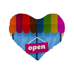 Store Open Color Rainbow Glass Orange Red Blue Brown Green Pink Standard 16  Premium Flano Heart Shape Cushions