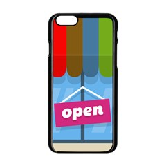 Store Open Color Rainbow Glass Orange Red Blue Brown Green Pink Apple iPhone 6/6S Black Enamel Case