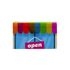 Store Open Color Rainbow Glass Orange Red Blue Brown Green Pink Cosmetic Bag (xs)