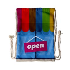 Store Open Color Rainbow Glass Orange Red Blue Brown Green Pink Drawstring Bag (Small)