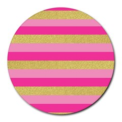 Pink Line Gold Red Horizontal Round Mousepads