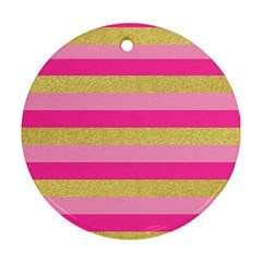 Pink Line Gold Red Horizontal Ornament (Round)