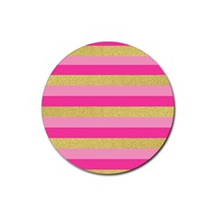 Pink Line Gold Red Horizontal Rubber Round Coaster (4 pack)