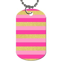 Pink Line Gold Red Horizontal Dog Tag (One Side)
