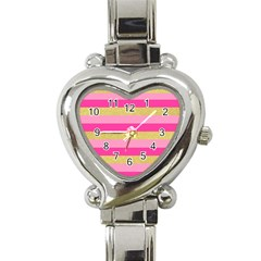 Pink Line Gold Red Horizontal Heart Italian Charm Watch