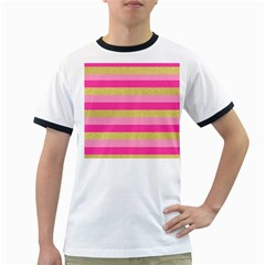 Pink Line Gold Red Horizontal Ringer T-Shirts