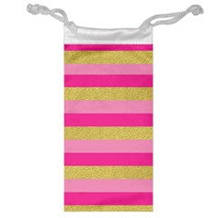 Pink Line Gold Red Horizontal Jewelry Bag