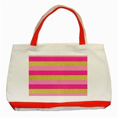 Pink Line Gold Red Horizontal Classic Tote Bag (Red)