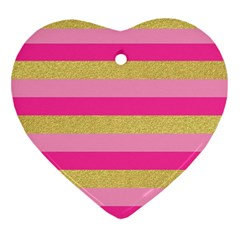 Pink Line Gold Red Horizontal Heart Ornament (Two Sides)