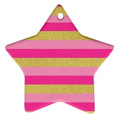Pink Line Gold Red Horizontal Star Ornament (Two Sides)
