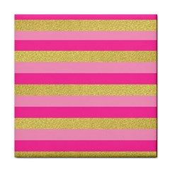 Pink Line Gold Red Horizontal Face Towel