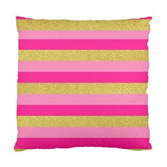 Pink Line Gold Red Horizontal Standard Cushion Case (Two Sides)