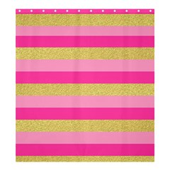 Pink Line Gold Red Horizontal Shower Curtain 66  x 72  (Large)