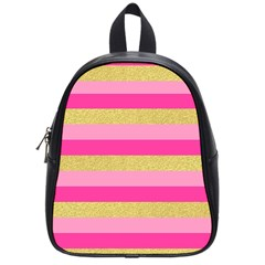 Pink Line Gold Red Horizontal School Bags (Small)