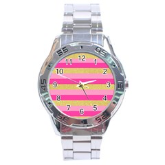 Pink Line Gold Red Horizontal Stainless Steel Analogue Watch