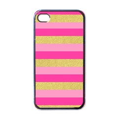 Pink Line Gold Red Horizontal Apple iPhone 4 Case (Black)