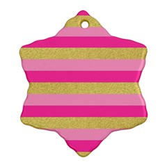 Pink Line Gold Red Horizontal Ornament (Snowflake)