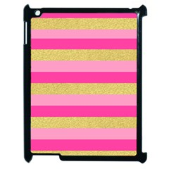 Pink Line Gold Red Horizontal Apple iPad 2 Case (Black)