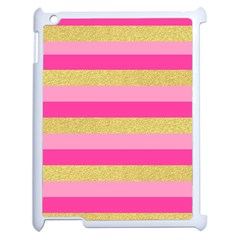 Pink Line Gold Red Horizontal Apple iPad 2 Case (White)