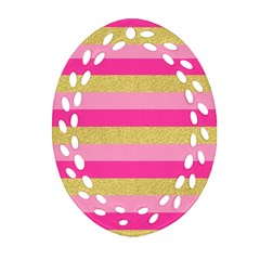 Pink Line Gold Red Horizontal Ornament (Oval Filigree)