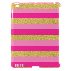 Pink Line Gold Red Horizontal Apple iPad 3/4 Hardshell Case (Compatible with Smart Cover)