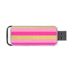 Pink Line Gold Red Horizontal Portable USB Flash (One Side)