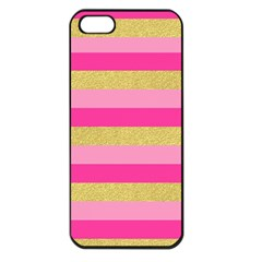 Pink Line Gold Red Horizontal Apple iPhone 5 Seamless Case (Black)