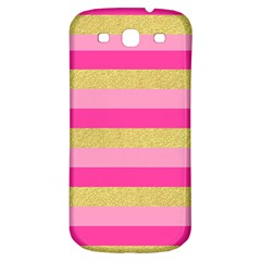 Pink Line Gold Red Horizontal Samsung Galaxy S3 S III Classic Hardshell Back Case