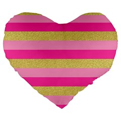 Pink Line Gold Red Horizontal Large 19  Premium Heart Shape Cushions