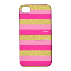 Pink Line Gold Red Horizontal Apple iPhone 4/4S Hardshell Case with Stand