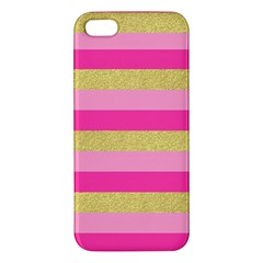 Pink Line Gold Red Horizontal Apple iPhone 5 Premium Hardshell Case