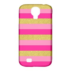 Pink Line Gold Red Horizontal Samsung Galaxy S4 Classic Hardshell Case (PC+Silicone)