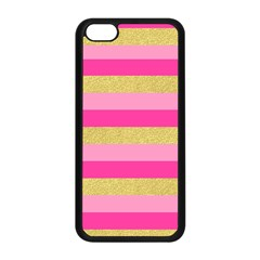 Pink Line Gold Red Horizontal Apple iPhone 5C Seamless Case (Black)