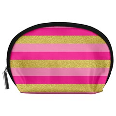 Pink Line Gold Red Horizontal Accessory Pouches (large)