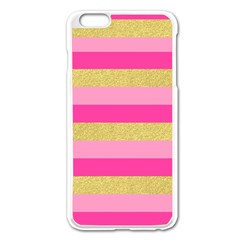 Pink Line Gold Red Horizontal Apple iPhone 6 Plus/6S Plus Enamel White Case