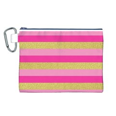 Pink Line Gold Red Horizontal Canvas Cosmetic Bag (L)