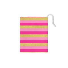 Pink Line Gold Red Horizontal Drawstring Pouches (XS)