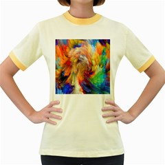 Rainbow Color Splash Women s Fitted Ringer T-Shirts