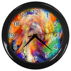 Rainbow Color Splash Wall Clocks (Black)