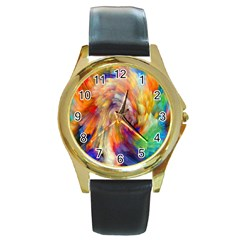 Rainbow Color Splash Round Gold Metal Watch