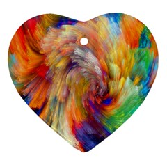 Rainbow Color Splash Heart Ornament (Two Sides)
