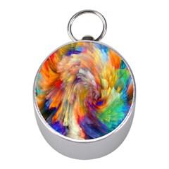 Rainbow Color Splash Mini Silver Compasses