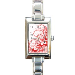 Love Heart Butterfly Pink Leaf Flower Rectangle Italian Charm Watch